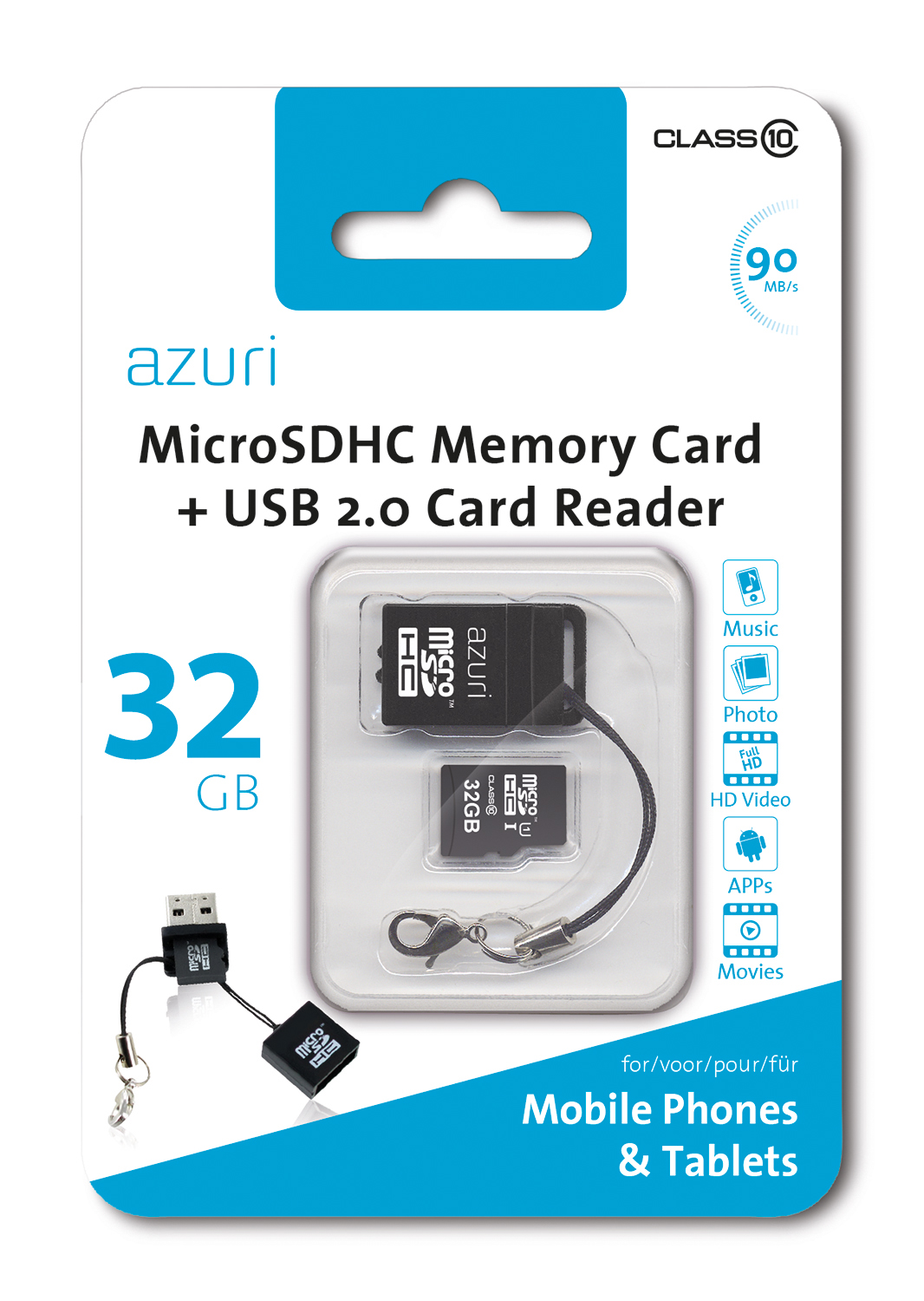 Azuri 32gb Micro Sdhc Card Class 10 90mb S With Usb Reader Mobile Mate For Microsd Memory Up To