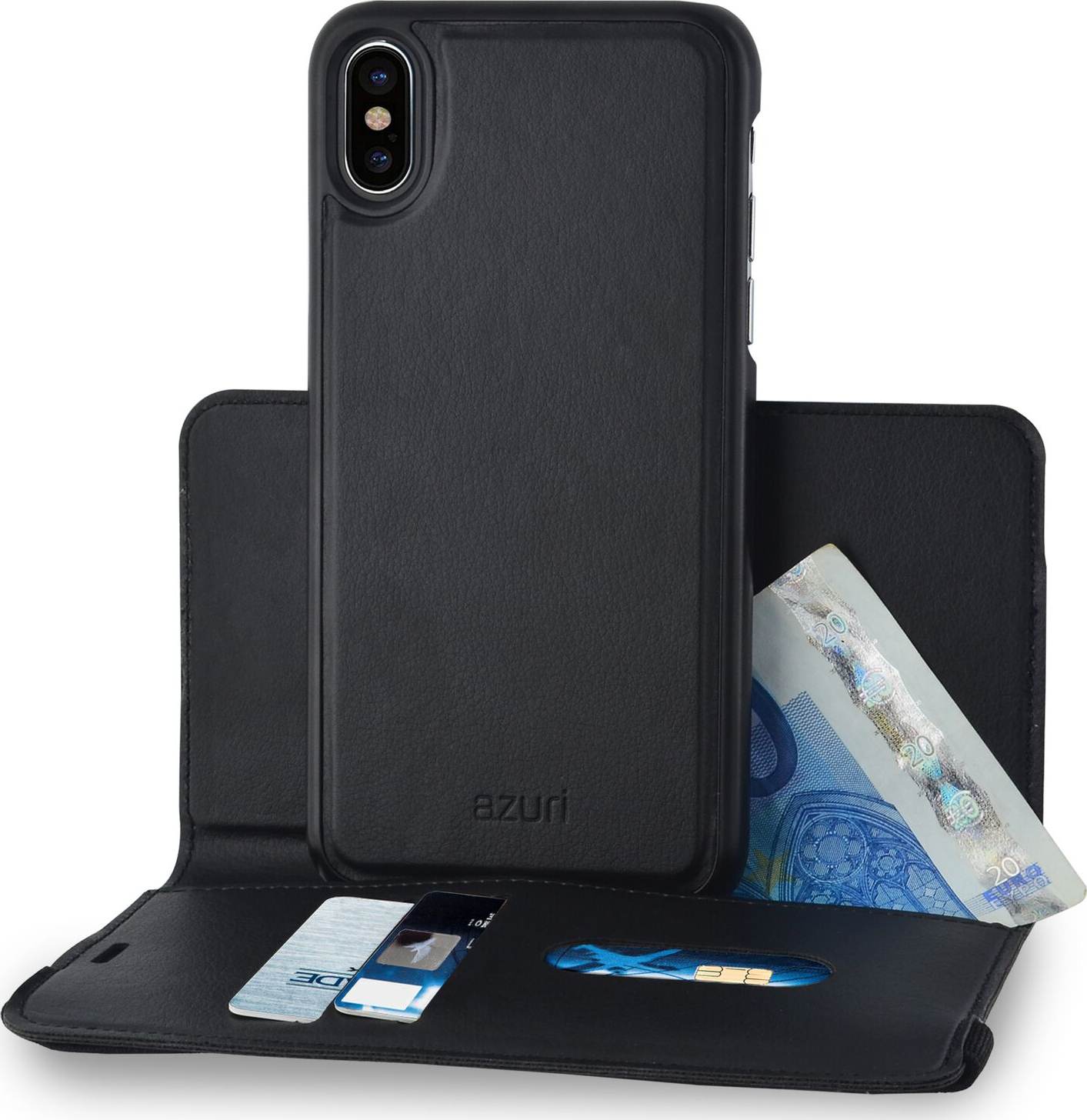 size 40 38134 2dc89 Azuri wallet case with removable magnetic cover - black - for Apple ...