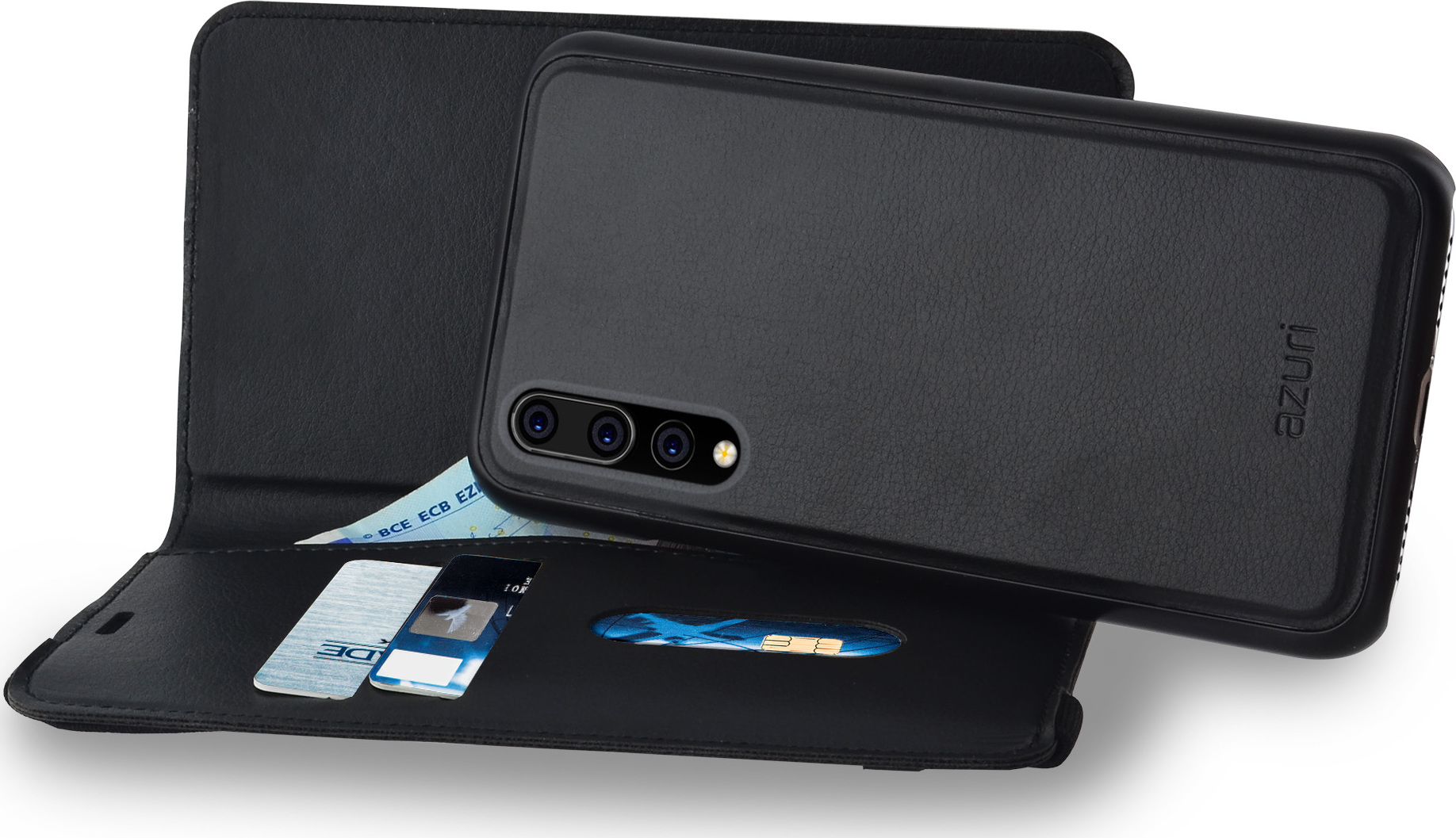 brand new e7957 1569e Azuri wallet case with removable magnetic cover - black - for Huawei ...