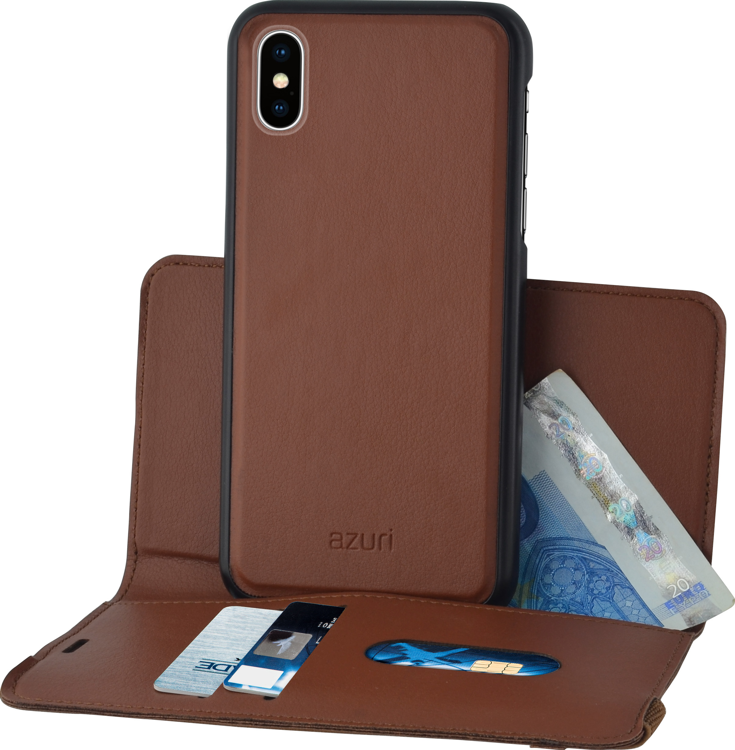 new product 0d095 67cf6 Azuri wallet case with removable magnetic cover - camel - Apple ...