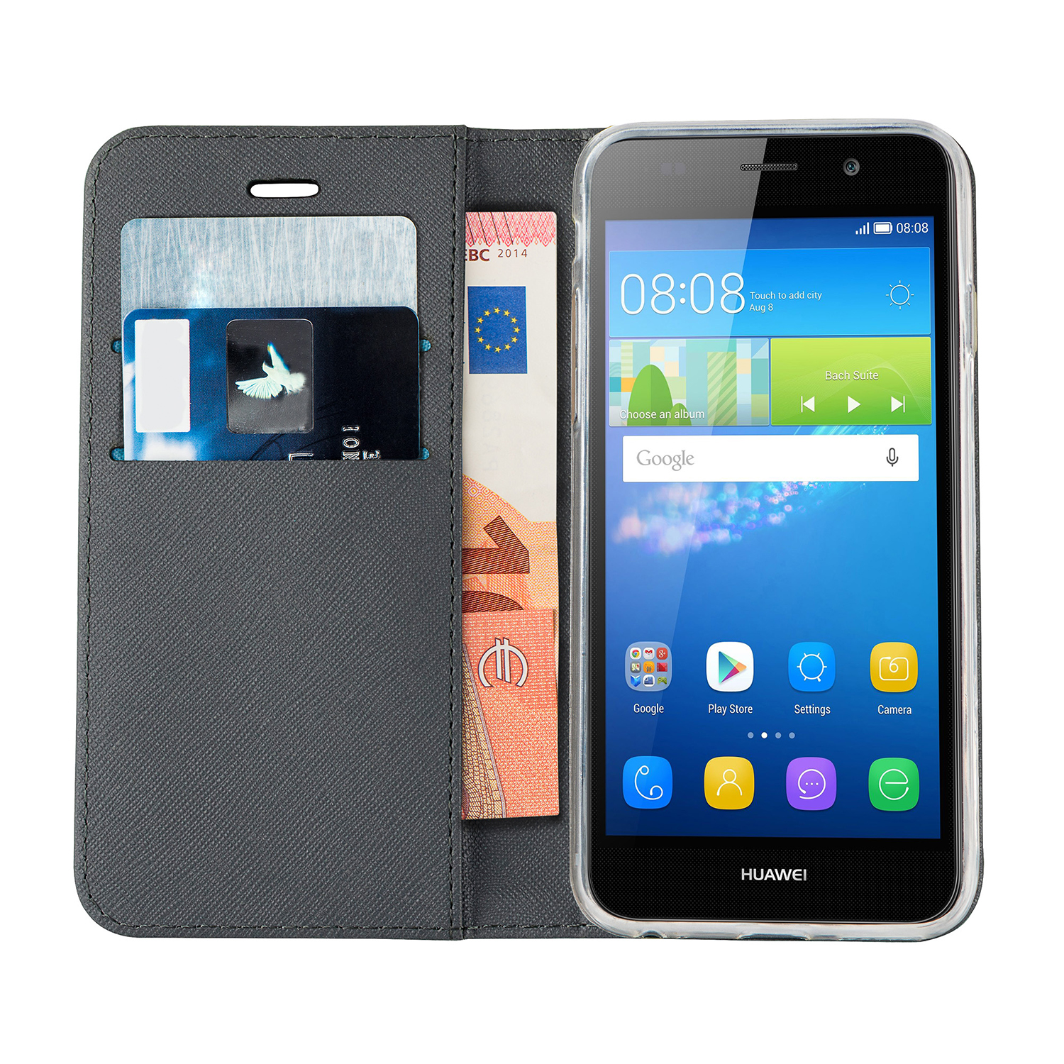 Case Design leather mobile phone case : Azuri wallet case with magnetic closure - black - for Huawei Y6 - GSM ...